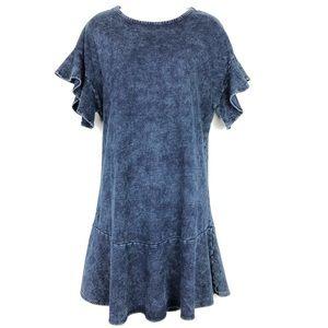 Anthropologie // Sz S denim ruffle dress flowy